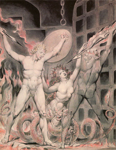 William Blake, Satan, Sin and Death, 1808, watercolour.