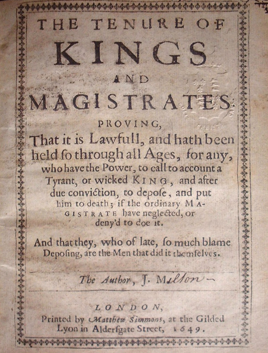 John Milton the tenure of kings and magistrates